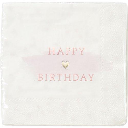 16 Tovaglioli Happy Birthday Love Pink