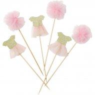 12 stuzzicadenti tulle Rosa Love Pink (14 cm)