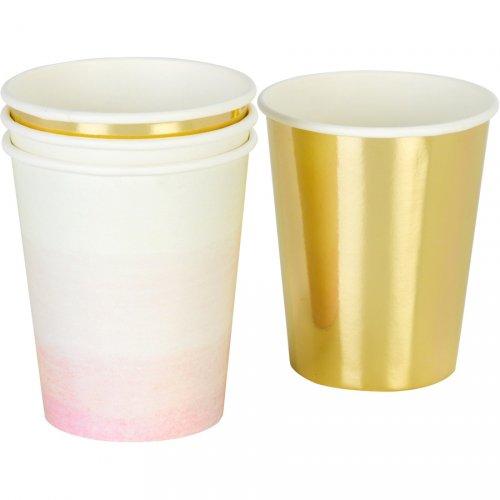 12 Bicchieri Oro e Rosa Love Pink