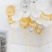 30 Palloncini Oro, Argento, Bianco lamé e nastri