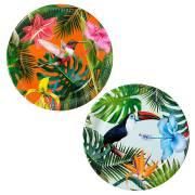 12 Piatti Tropical Birds
