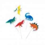 5 Mini Candele  Dino Colors (6 cm)