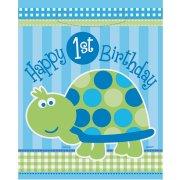 8 Sacchetti regalo Primo compleanno tartaruga blu