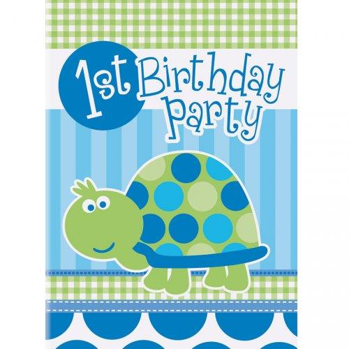 8 Inviti First Birthday Tartaruga azzurra