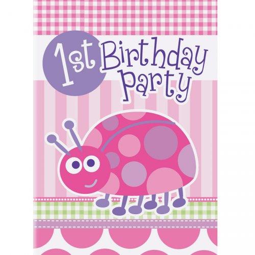 8 Inviti First Birthday Coccinelle Rosa