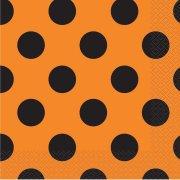 16 Tovaglioli a Pois Neri/Arancioni