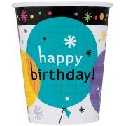 8 Bicchieri Happy Birthday Palloncini