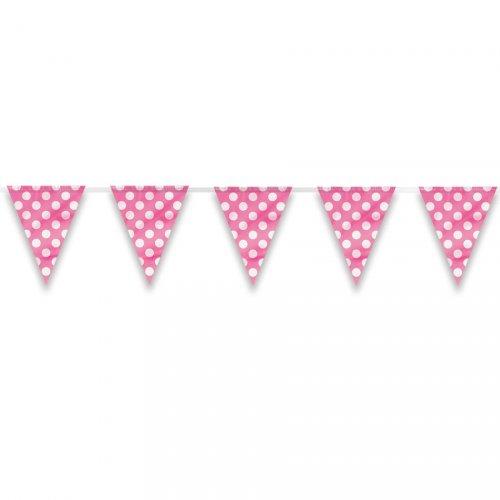 Ghirlanda bandierine a pois rosa/bianco