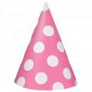 8 Cappelli a pois rosa/bianchi