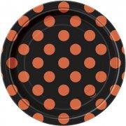 8 Piattini a pois Neri/Arancioni