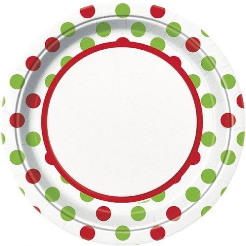 8 Piatti a pois Rosso/Verde