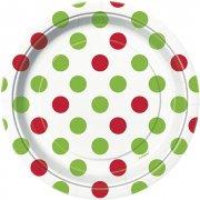8 Piattini a pois Rosso/Verde