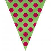 Ghirlanda bandierine a pois rosso/verde