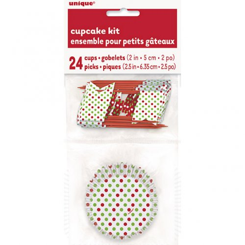 Kit 24 Pirottini e decorazioni per cupcake a pois rossi/verdi
