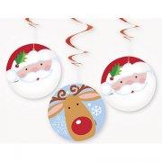 3 Festoni a spirale Babbo Natale