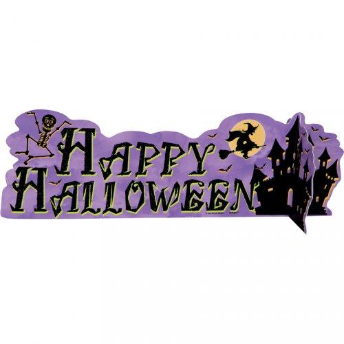 """Centrotavola scritta """"Happy Halloween"""" con castello stregato"""