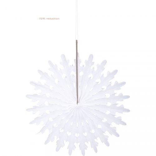 1 piccolo ventaglio deco bianco a fiocco di neve (13 cm)