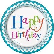 8 Piattini Happy Birthday Coriandoli
