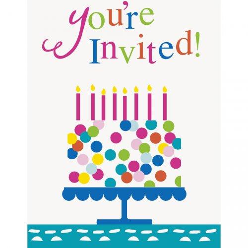 8 Inviti Happy Birthday Coriandoli