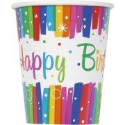 8 Bicchieri Happy Birthday Rainbow