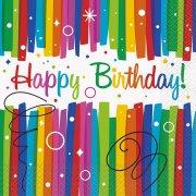 16 Tovaglioli Happy Birthday Rainbow