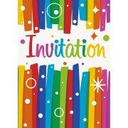 8 Inviti Happy Birthday Rainbow