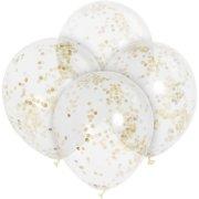 6 Palloncini trasparenti e coriandoli oro