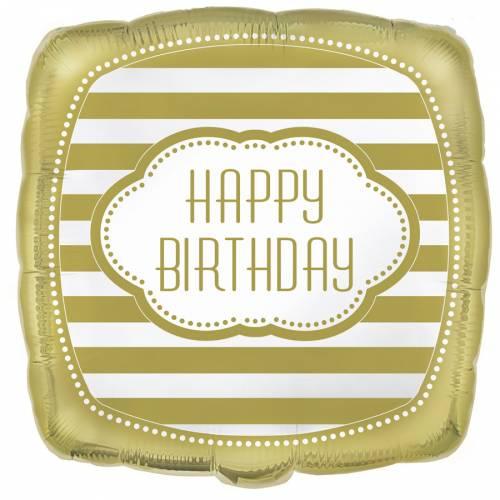 Palloncino piatto Happy Birthday Gold