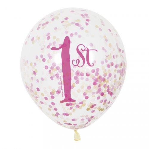 6 Palloncini coriandoli 1 anno Principessa