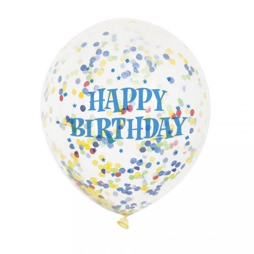 6 Palloncini Happy Birthday e coriandoli multicolori