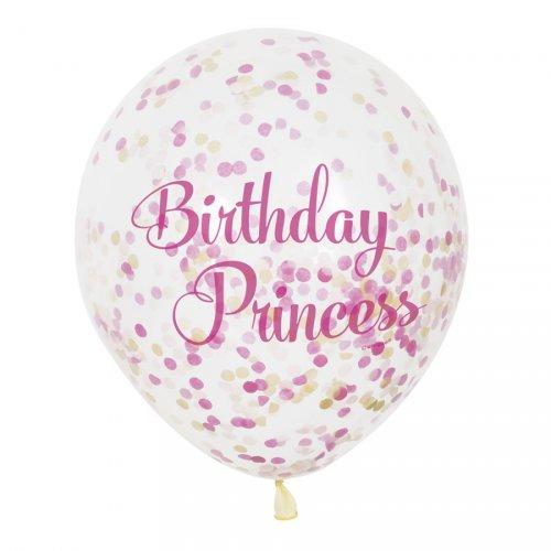 6 Palloncini Birthday Principessa e coriandoli Rosa/Oro