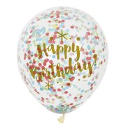 6 Palloncini Happy Birthday oro e coriandoli multicolori