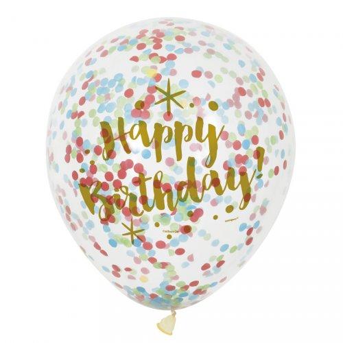 6 Palloncini Happy Birthday oro e coriandoli multicolori