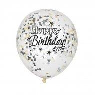 6 Palloncini Happy Birthday nero e coriandoli oro/argento