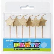 6 mini candele Stelle oro