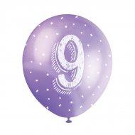 5 Palloncini multicolori Numero 9
