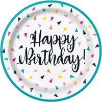 Contiene : 1 x 8 Piatti Happy Birthday Fantasia Pop