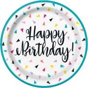 8 Piattini Happy Birthday Fantasia Pop