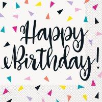 Contiene : 1 x 16 Tovaglioli Happy Birthday Fantasia Pop