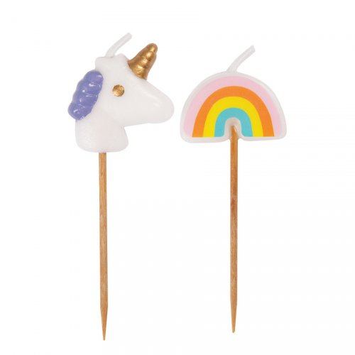 6 Mini candele Unicorno Magico (7 cm)