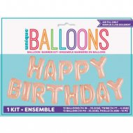 Ghirlanda Palloncini Happy Birthday (4,26 m) - Rosa Gold