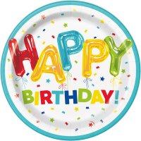 Contiene : 1 x 8 Piatti Happy Birthday Fantasia