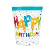 8 Bicchieri Happy Birthday Fantasia