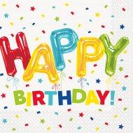 16 Tovaglioli Happy Birthday Fantasia