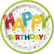 8 Piattini Happy Birthday Fantasia
