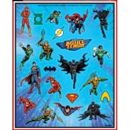 4 Fogli di adesivi Justice League