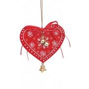 Addobbo Natalizio Cuore di Natale con Campanello (10 cm) - Legno