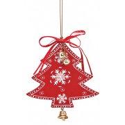 Addobbo Natalizio Albero di Natale con Campanello (10 cm) - Legno