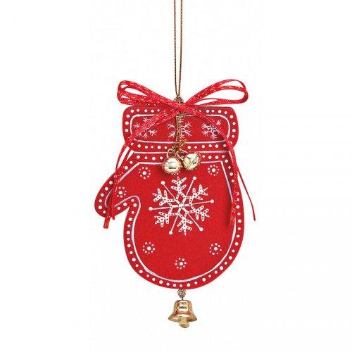 Addobbo Natalizio Guanto di Natale con Campanello (10 cm) - Legno