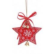 Addobbo Natalizio Stella di Natale con Campanello (10 cm) - Legno